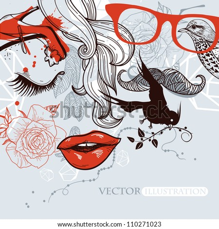 vector illustration of abstract man and woman in a vintage style - stock vector