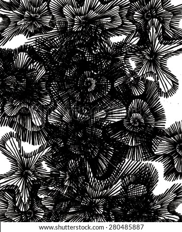 Vector illustration of abstract spiral distorted grunge background. Hand drawn image. Black and white. - stock vector