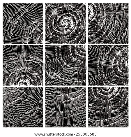 Vector illustration of abstract spiral distorted grunge background. Hand drawn image. Six different spiral images, mosaic. - stock vector