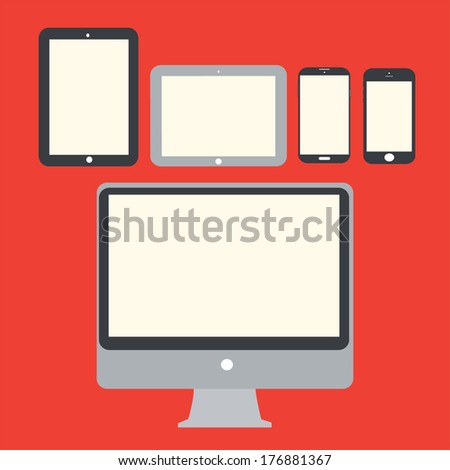 Vector illustration of abstract style modern and  mobile gadgets.eps - stock vector
