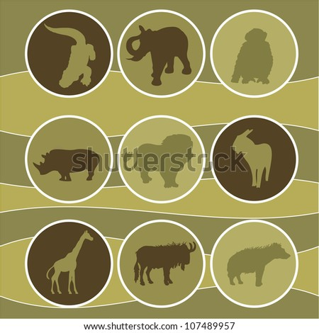 vector illustration of african animals - stock vector