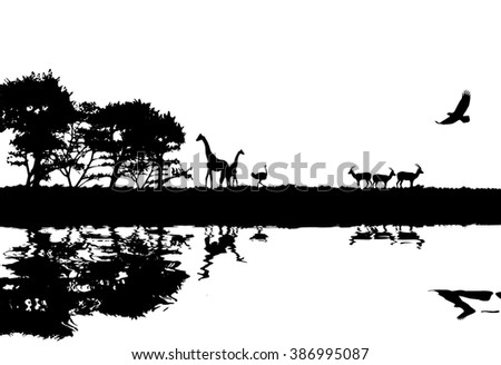 Vector Illustration of African safari concept silhouette image - stock vector