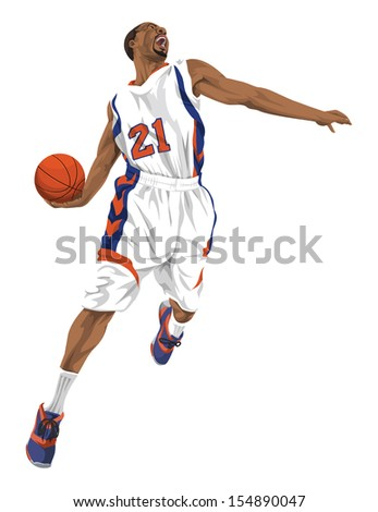 Vector illustration of aggressive basketball player going for a slam dunk. - stock vector