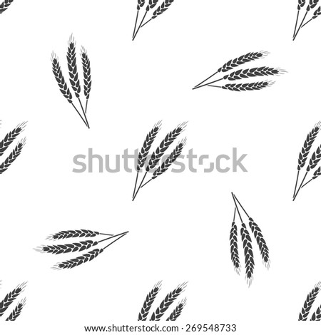 Vector illustration of agricultural modern silhouette ears of wheat icon (wheat). Black seamless pattern on white background. - stock vector