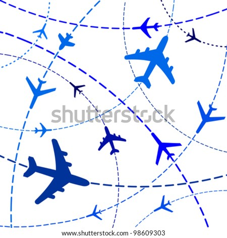 Vector Illustration of Airplane Routes - stock vector