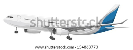 Vector illustration of airplane taking off. - stock vector
