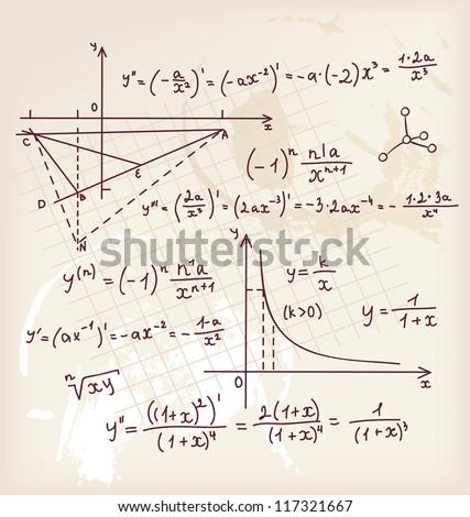 Vector illustration of Algebra doodle background - stock vector