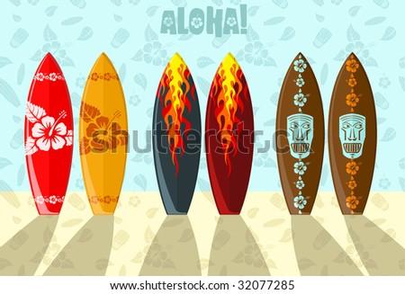 Vector illustration of aloha surf boards on the beach - stock vector