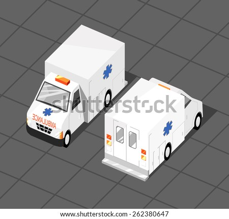 Vector illustration of ambulance car. Isometric view of transport. Can be used as icon for games and mobile apps.  - stock vector
