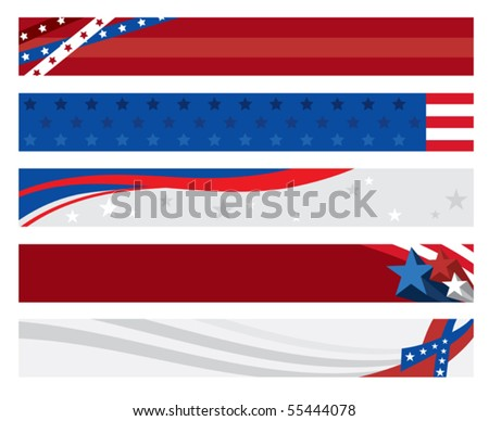 Vector illustration of 5 american flag banners. Each banner is on separate layer with a Clipping Mask. - stock vector