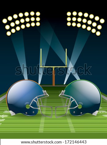 Vector illustration of american football helmets on a field. EPS 10. File contains transparencies and gradient mesh. - stock vector