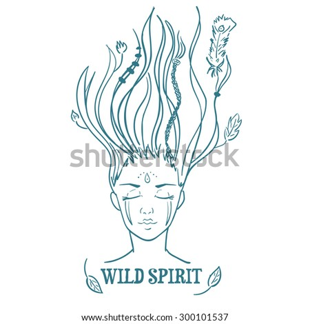 Vector illustration of American Indian girl symbolizing wild spirit and freedom - stock vector