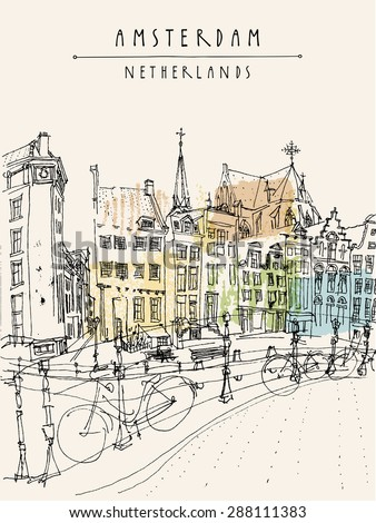 Vector illustration of Amsterdam city architecture, bridge, bicycles. Traditional old buildings. City skyline. Old houses. Travel poster, postcards, greeting cards template. Hand drawn vintage sketch - stock vector