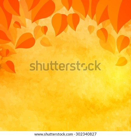 Vector Illustration of an Abstract Autumn Fall Design with Leaves - stock vector