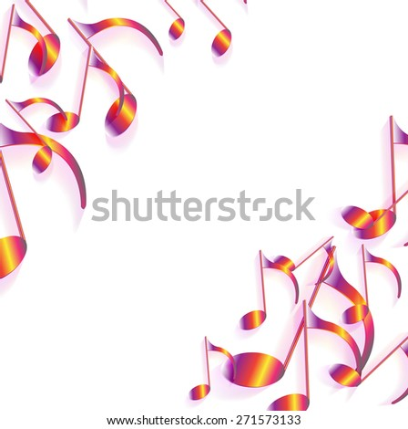 Vector Illustration of an Abstract Background with Colorful Music notes. eps 10 - stock vector