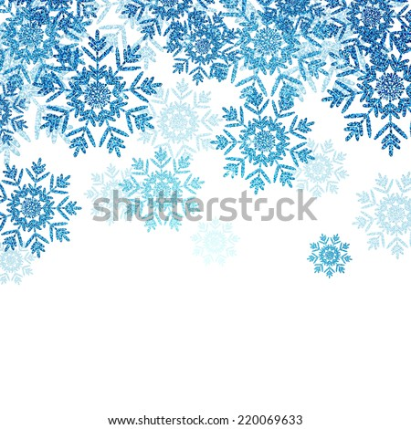 Vector Illustration of an Abstract Christmas Design with Snowflakes - stock vector