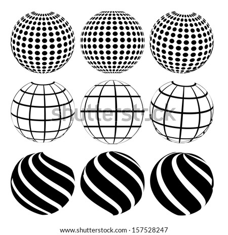 Vector illustration of an abstract dotted, swirls and grill spheres - stock vector