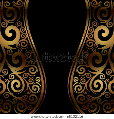 vector illustration of an abstract striped ornament with waves - stock vector