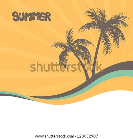 Vector Illustration of an Abstract Summer Background - stock vector