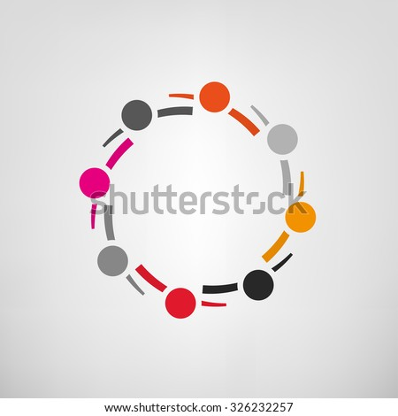 Vector illustration of an abstract teamwork sign. Meeting together community concept. Logo and identity design. Colorful image in red, orange, black and gray tones. - stock vector