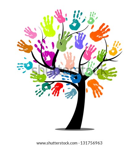Vector Illustration of an Abstract Tree with Colorful Hand Prints - stock vector