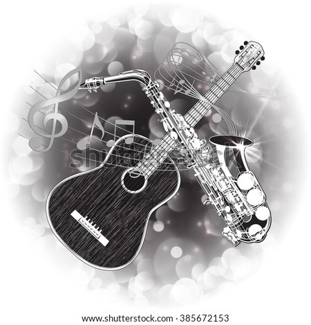 Vector illustration of an acoustic guitar and saxophone in a monochrome version on the background of bright balloons. - stock vector