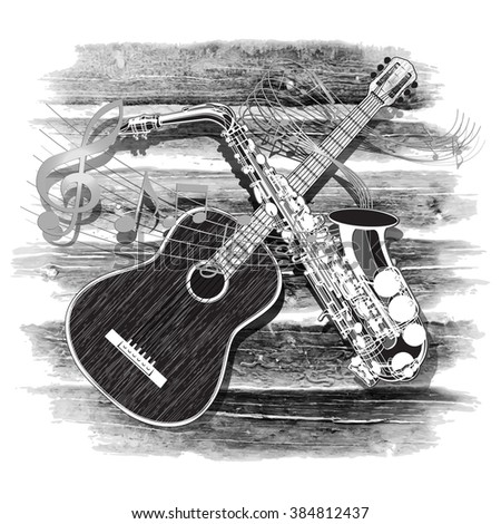 Vector illustration of an acoustic guitar and saxophone on the wooden background in a monochrome version - stock vector