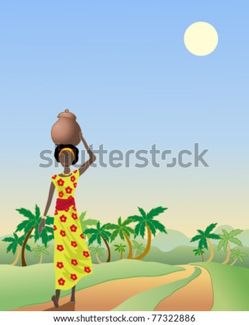 vector illustration of an african woman walking along a rural track in eps 10 format - stock vector
