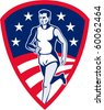 vector illustration of an American Marathon athlete sports runner with stars and stripes and set in shield done in retro style. - stock vector