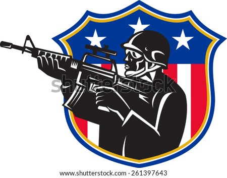 vector illustration of an american soldier swat policeman with m4 carbine rifle set inside shield with stars and stripes. - stock vector