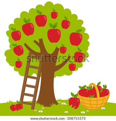 Vector Illustration of an apple tree, a ladder and a basket with harvested apples. - stock vector
