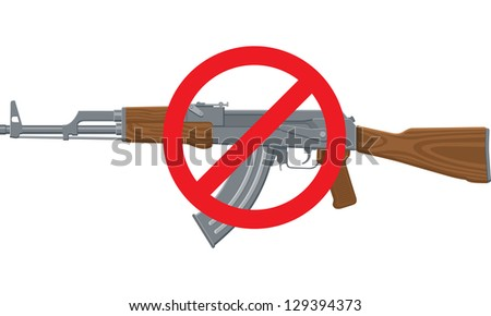 Vector Illustration of an assault rifle or sub-machine gun with red circle and line. - stock vector