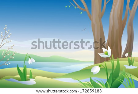 Vector illustration of an early spring morning with snowdrops - stock vector