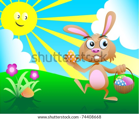 vector illustration of an easter bunny with background - stock vector