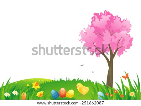 Vector illustration of an Easter scenery - stock vector
