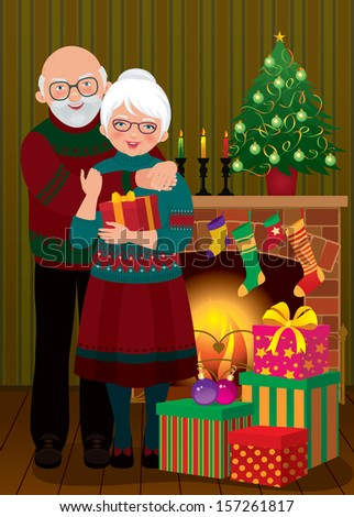 Vector illustration of an elderly couple in the living room on the eve of Christmas/ An elderly couple in the fireplace Christmas/ Grandma and Grandpa celebrating Christmas - stock vector