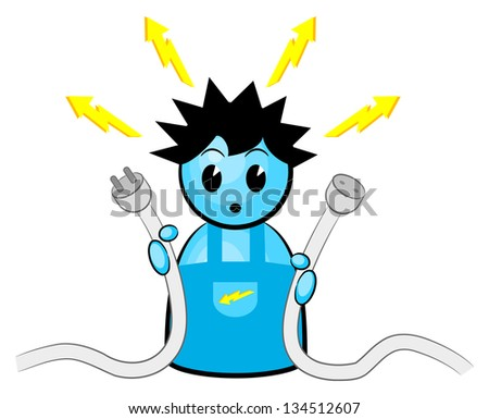 Vector illustration of an electrician who gets an electric shock - stock vector