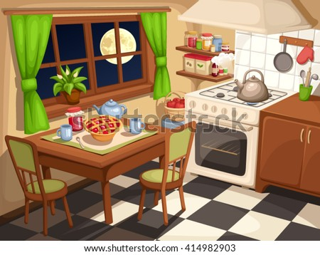 Vector illustration of an evening kitchen interior with laid table and a kettle on a stove. - stock vector