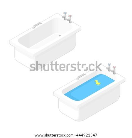 Vector illustration of an isometric bathtub icon. Porcelain household bathtubs. Isometric Bathing. - stock vector