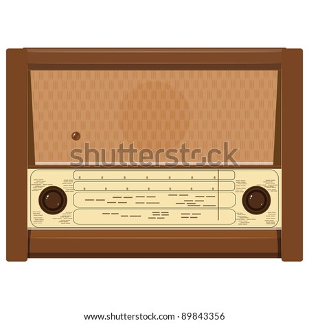 Vector illustration of an old radio - stock vector