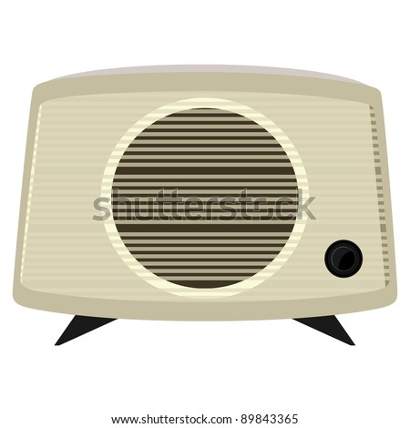 Vector illustration of an old radio  in a plastic case - stock vector