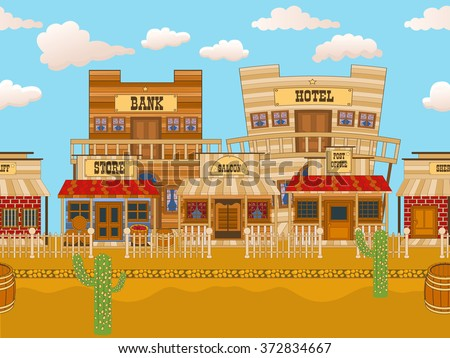 Vector illustration of an old western town cartoon background. - stock vector