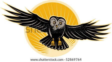 vector illustration of an owl flying towards you - stock vector
