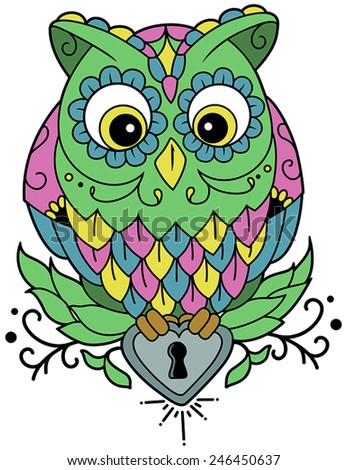 Vector illustration of an owl standing on an heart - stock vector