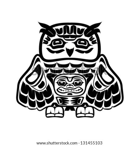 Vector illustration of an owl, stylization of Native North American art. Single component of a totem in black and white colors, drawn with thick black line - stock vector