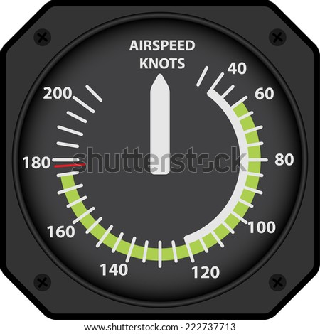 Vector illustration of analogical aircraft airspeed indicator - stock vector
