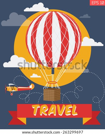 Vector  illustration of ancient air balloon flying  and plane | Travel  web banner - stock vector
