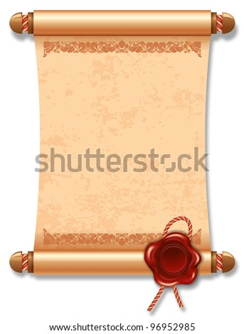 Vector illustration of ancient manuscript, with vintage rope and wax seal. - stock vector