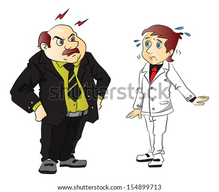 Vector illustration of angry boss scolding young employee. - stock vector