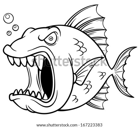 Hungry piranha free coloring pages for Fish cartoon coloring pages